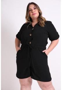 Macacão Kaue Plus Size Abertura Frente Feminina - Feminino-Preto