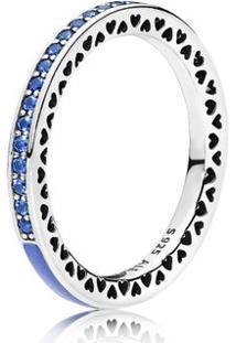 Anel Corações Radiantes Pandora Azul Royal