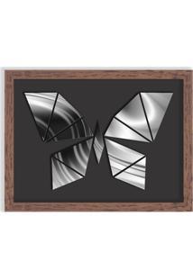 Quadro Decorativo Em Relevo Espelhado Borboleta Prateada Madeira - Médio