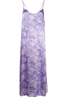 Ganni Slip Dress Longo Floral - Roxo