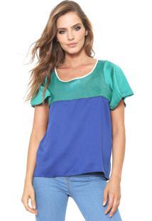 Camiseta Triton Reta Verde/Azul