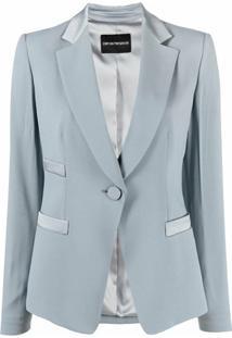 Emporio Armani Blazer De Alfaiataria Com Abotoamento Simples - Azul