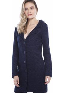 Casaco Ralm Tricot Tweed Azul Marinho - Azul - Feminino - Dafiti