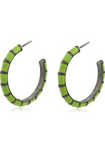 Brinco Viva Jolie Argola Colors Grande Verde Abacate Ródio Negro - Kanui