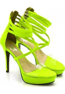 Sandalia Plataforma Neon Salto Fino Feminina - Feminino-Verde