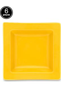 Conjunto 6Pçs Pratos Fundos Oxford Mail Order Nara Yellow Branco