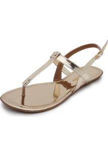 Rasteira Dafiti Shoes Metalizada Dourada
