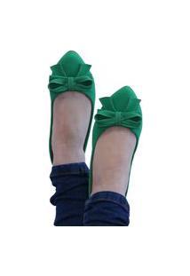 Sapatilha Feminina Bico Fino Cor Verde