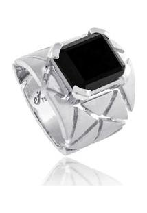 Anel Grid Stone Branco C/ Q.Negro - 17
