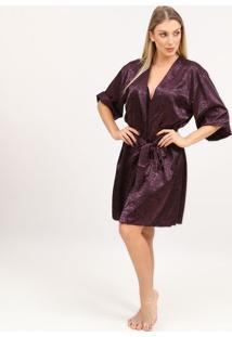Robe Em Cetim Com Arabescos- Roxa- Fruit De La Passifruit De La Passion