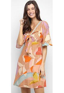Vestido Mercatto Curto Busto Com Amarração Floral - Feminino-Rosa Claro
