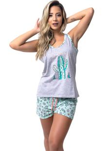 Pijama Baby Doll Rb Moda Caquito Cinza Ref:057