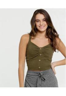 Blusa Feminina Cropped Canelada Alças Finas Marisa - Feminino-Verde