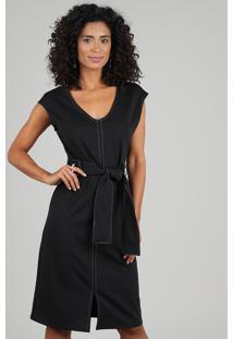 Vestido Feminino Curto Com Pespontos E Faixa Para Amarrar Preto