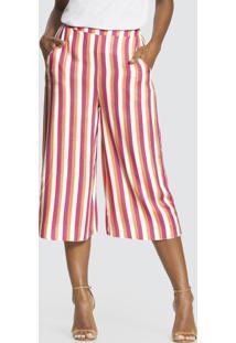 Calça Pantacourt Tecido Rayon Bali Rosa