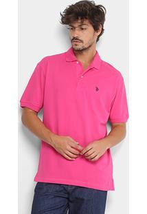 Camisa Polo U.S. Polo Assn Lisa Bordado Masculina - Masculino-Pink