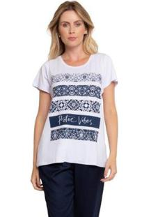 Camiseta Positive Vibes Grupo Avenida Feminina - Feminino-Branco