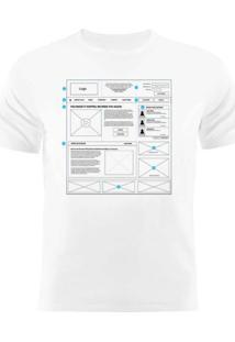 Camiseta Manga Curta Nerderia Wireframe Branco