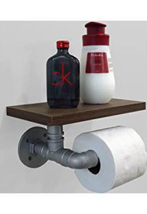Porta Papel Higiênico Acessório Para Banheiro Papeleira Suporte De Parede Estilo Industrial - Prata Laca