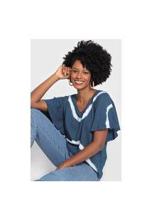 Blusa Cantão Tie Dye Azul-Marinho