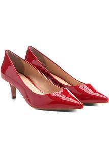Scarpin Shoestock Salto Médio Verniz - Feminino-Vermelho