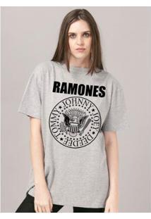 Camiseta Bandup! Ramones Logo Mescla Feminina - Feminino-Mescla