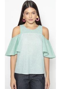 Blusa Listrada Com Recortes- Verde & Branca- Colccicolcci