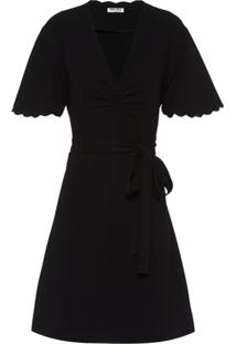 Miu Miu Scalloped Trim Wrap Dress - Preto