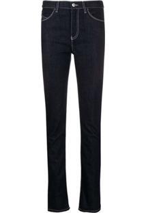 Emporio Armani Contrast-Stitch Skinny Jeans - Azul