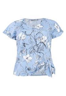 Blusa Almaria Plus Size New Umbi Nó Laço Lateral Azul