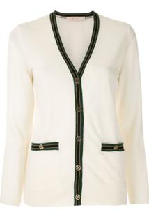 Tory Burch Cardigan Color Block Madeline - Branco