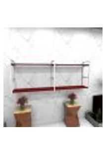 Estante Estilo Industrial Sala Aço Cor Branco 180X30X68Cm Cxlxa Cor Mdf Vermelho Modelo Ind36Vrsl