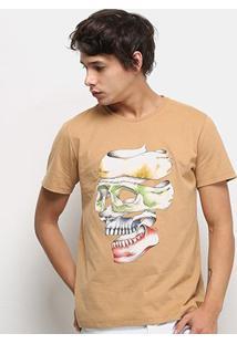 Camiseta Colcci Caveira Masculina - Masculino-Bege
