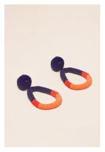 Brinco Tricolor Miçangas Azul/Vermelho/Laranja