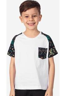 Camiseta Hermoso Compadre Raglan Étnica Niños Masculina - Masculino-Branco