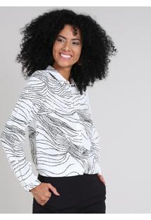 Camisa Feminina Estampada Manga Longa Off White