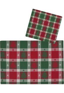 Jogo Americano & Guardanapos ÁRvore De Natal- Vermelho Emabruk