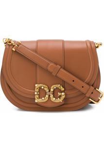 Dolce & Gabbana Bolsa Tiracolo Com Placa De Logo - Marrom