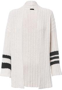 Cardigan Feminino Over Stripes - Off White