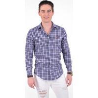 64aa892a92 Camisa Xadrez Masculina Slim Social Estampada - Masculino-Azul