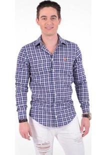 Camisa Xadrez Masculina Slim Social Estampada - Masculino-Azul