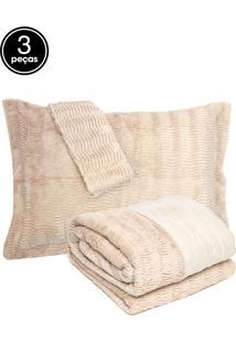 Kit 3Pçs Colcha Casal Corttex Living Art Soft Pele Bege