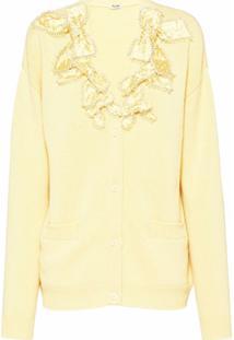 Miu Miu Cardigan Com Aplicação De Laço Em Cristais - Amarelo