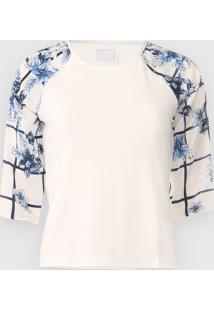 Blusa Enfim Floral Off-White/Azul-Marinho