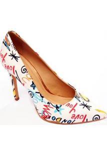 Sapato Scarpin Multicolor Casual Christian Fischer Feminino - Feminino-Branco
