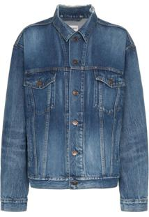 Balenciaga Blue Long Sleeve Logo Print Denim Jacket - Azul