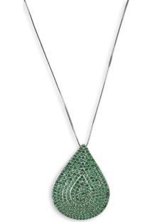 Colar Gota Cravejado Com Zirconias Verdes Banho Em Prata