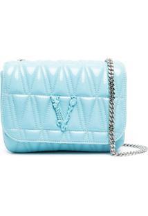 Versace Bolsa Transversal Matelassê Virtus - Azul
