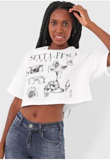 Camiseta Cropped Colcci Sexta-Feira Off-White