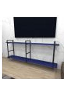 Rack Industrial Aço Cor Preto 180X30X68Cm (C)X(L)X(A) Cor Mdf Azul Modelo Ind37Azrk